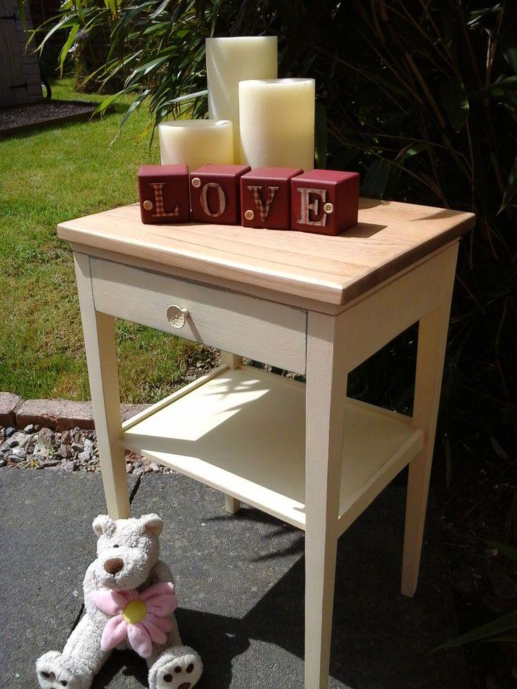 Cream Bedside Tables: Beautiful Vintage Shabby Chic Oak Side Table / Bedside