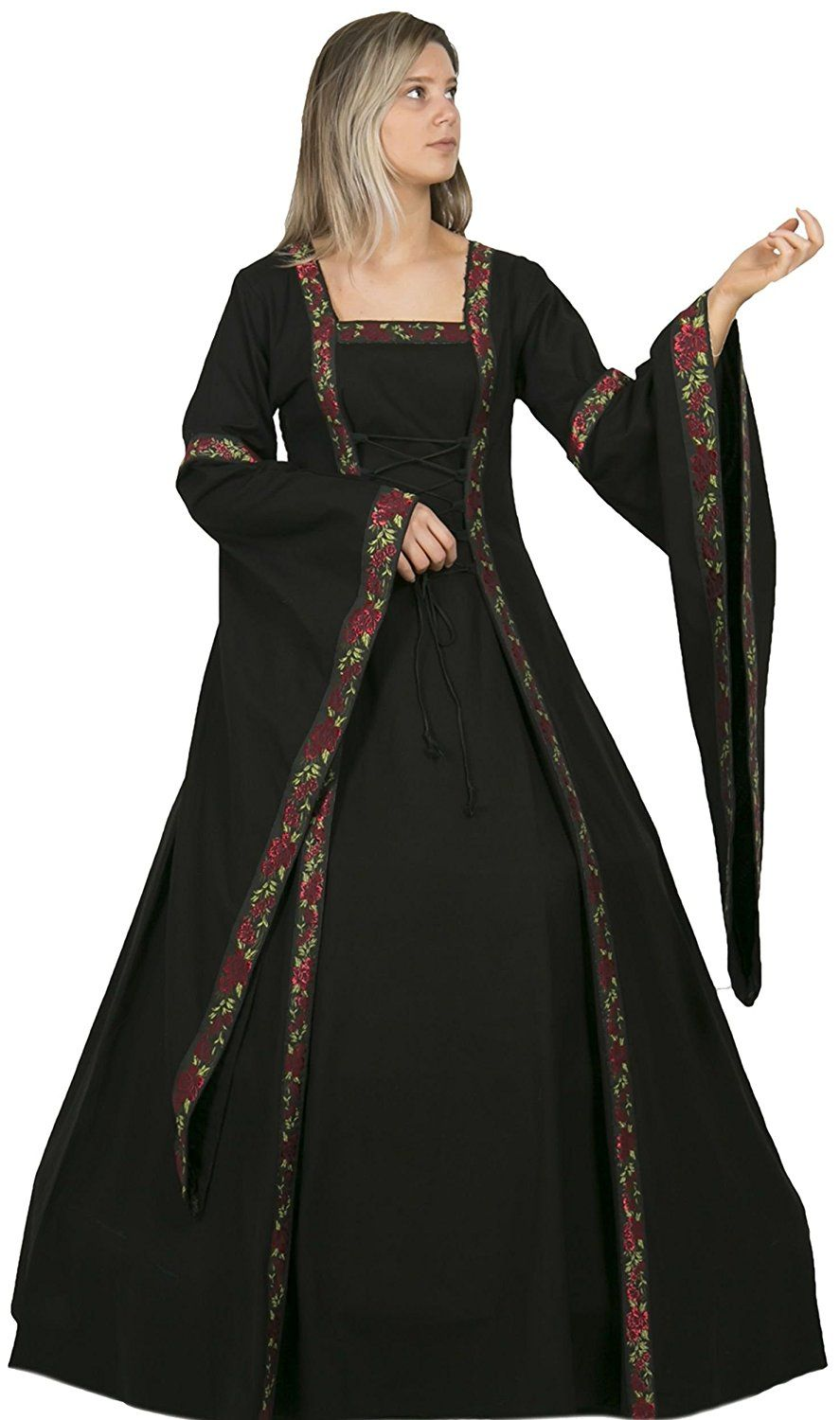 4790c91250 Women s Medieval Upper-Class Black Red Floral Trim Trumpet Sleeve Dress -  DeluxeAdultCostumes.com
