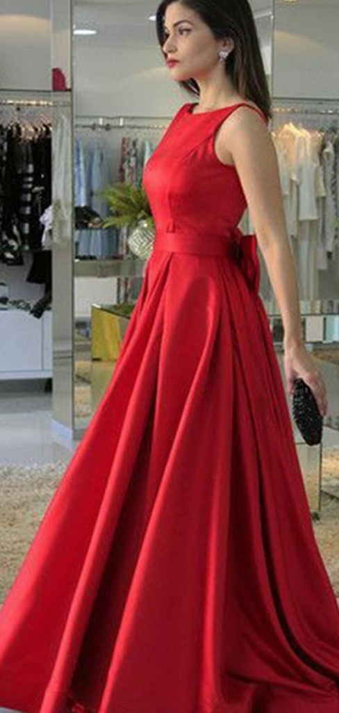 e55c93266e A-Line Round Neck Sleeveless Red Long Prom Dresses With Bowknot ...