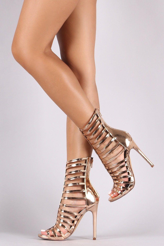 5f85bca34d2 Liliana Mirror Patent Strappy Gladiator Heel