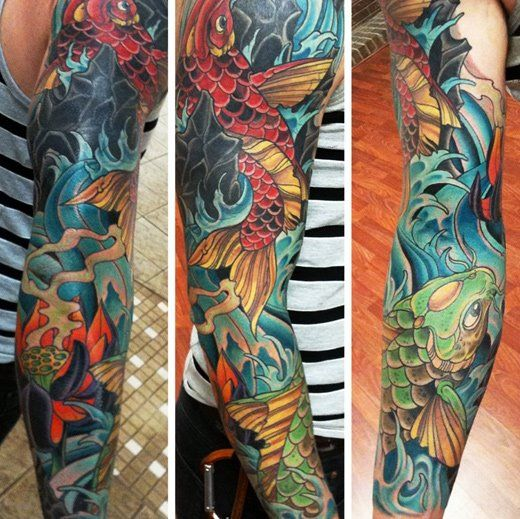 21 Awesome Koi Fish Tattoo Designs Ideas: Koi Tattoo Sleeve, Full Sleeve