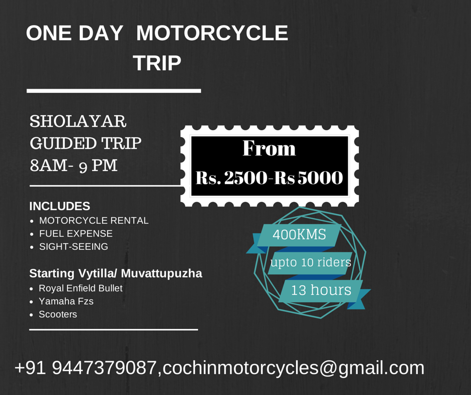 Rent Motorcycle in Kochi. From www.cochinmotorcycles.com or call +91 9447379087
