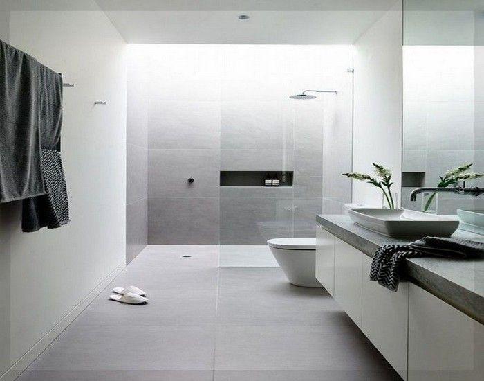 Moderne Badezimmer Fliesen Grau Ideen 12