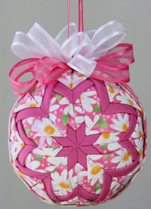 Pink and White Quilted Ornament Ball  Daisy by YouniqueOrnaments, $18.00...Check out webiste www.youniqueornaments.com   Great gifts!!