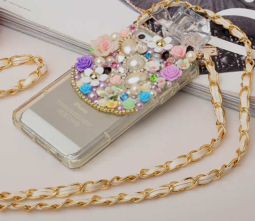 iPhone 6 Plus, 6, 5/5S, 5C - Romantic Pearls & Flowers OR Tear Drop Gem Perfume Bottle Case With Strap - Thumbnail 2