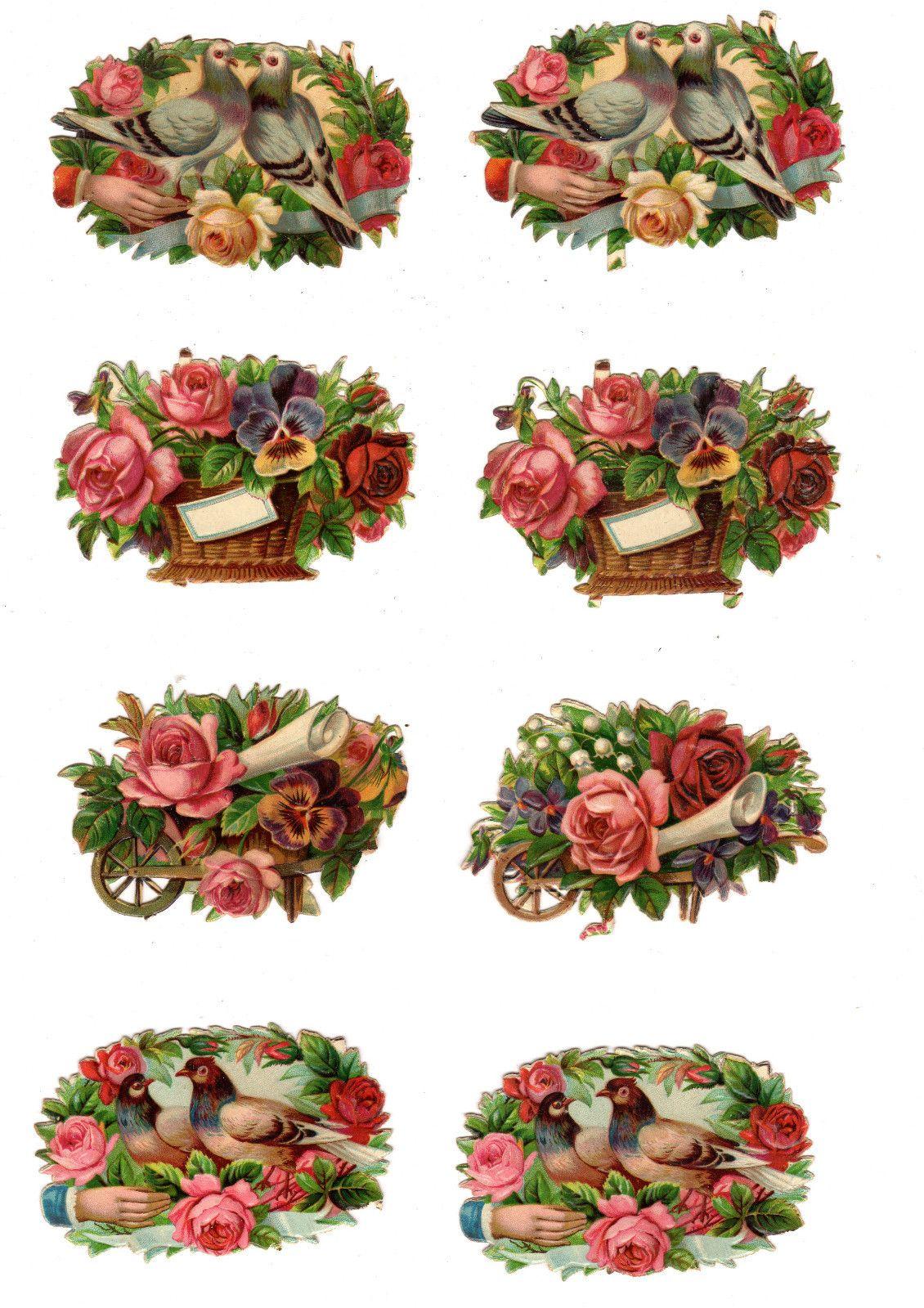 Victorian Scrap ~ Diecut ~ group of 8 ~ flower baskets