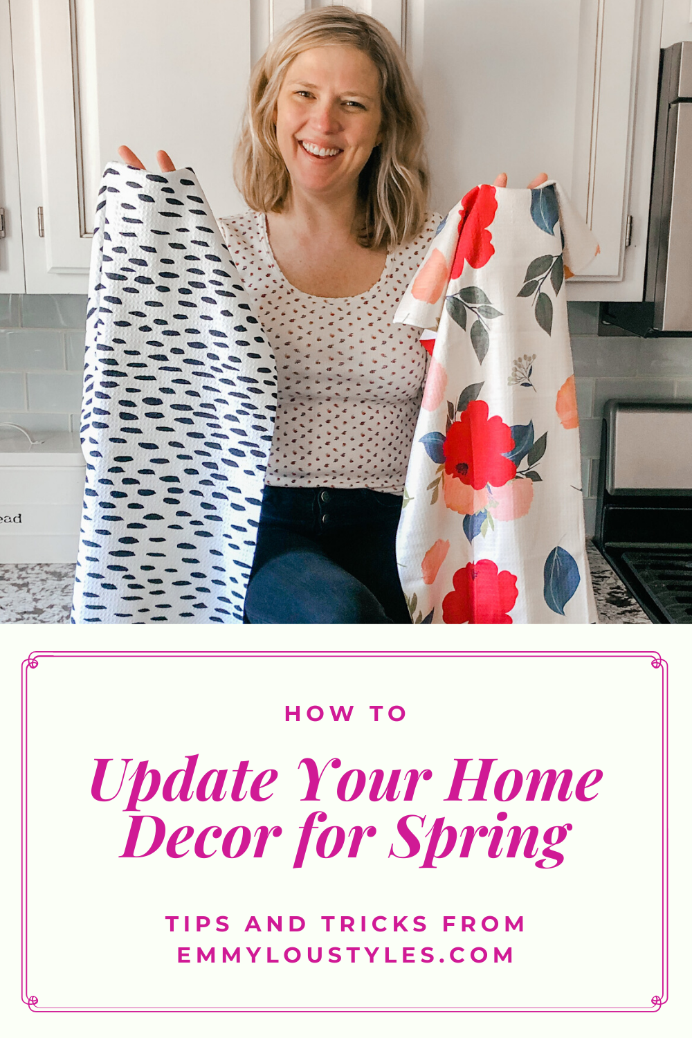 If you're looking for ways to update your home decor with some spring touches, this is the post for you!  9 tips + tricks for ways to add a few spring touches to your home decor without breaking the bank.  The post covers everything from candles, to kitchen towels.  Read now!  #spring #springhomedecor #homesweethome