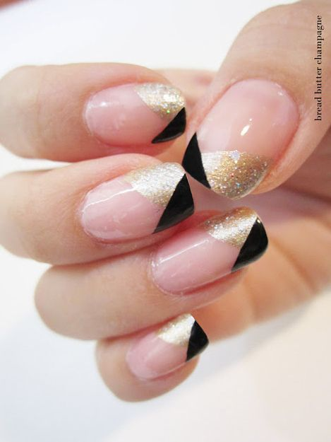 Great Gatsby Inspired Black Gold French Tips Black