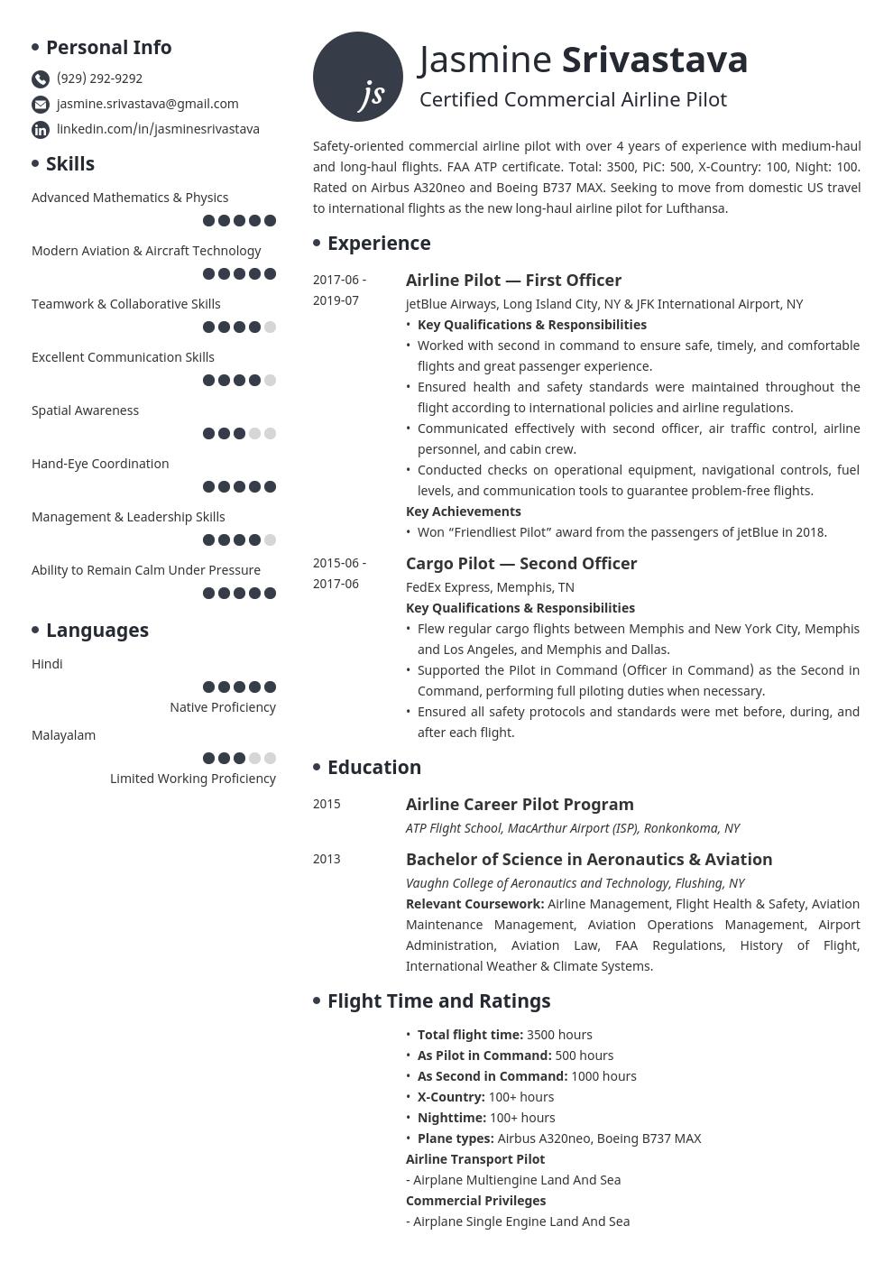 Pilot Resume Example Template Initials Resume Template Examples Job Resume Examples Resume Examples