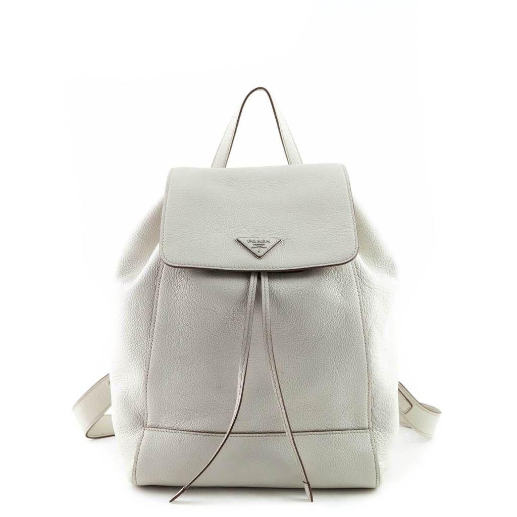 542182faebf5 Prada Talco Vitello Daino Drawstring Backpack - LOVE that BAG - Preowned  Authentic Designer Handbags -  1250CAD