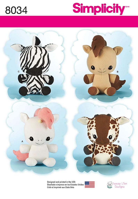 8034 Simplicity Creative Group - Animal Stuffies | Patterns ...