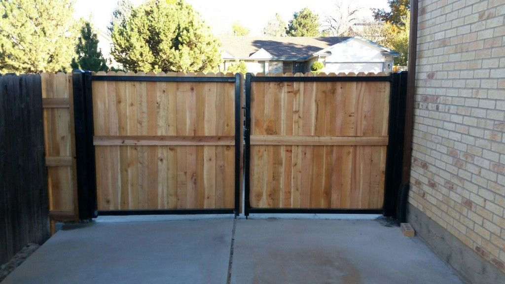 5 Wood Gate With Steel Posts And Framework Installed In Arvada Steel Fence Posts Wood Fence Steel Fence