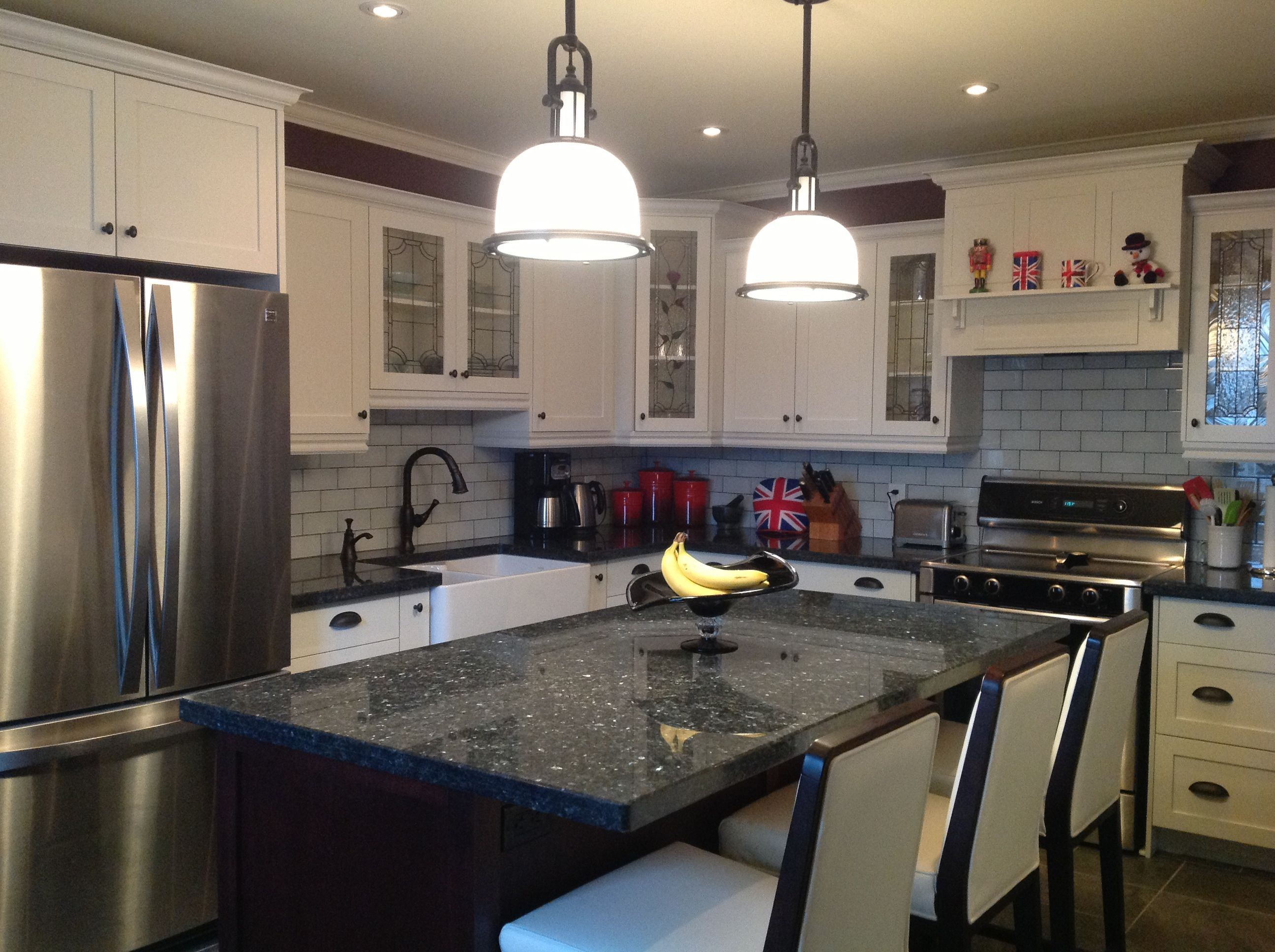 Blue Countertops White Cabinets Blue Pearl Granite Countertop White Bar Stools Pendant