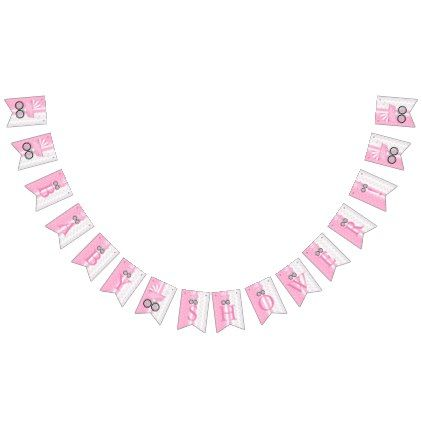 Girl Pink Dots And Diamonds Personalised Baby Shower Bunting
