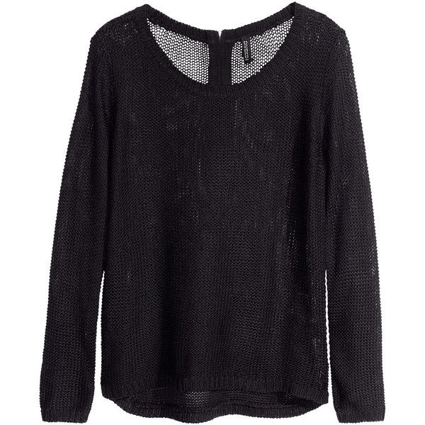 H&M Knitted jumper ($19) ❤ liked on Polyvore featuring tops, sweaters, jumper, shirts, black, long sleeve jumper, long sleeve tops, jumper shirt, h&m sweaters and long-sleeve shirt