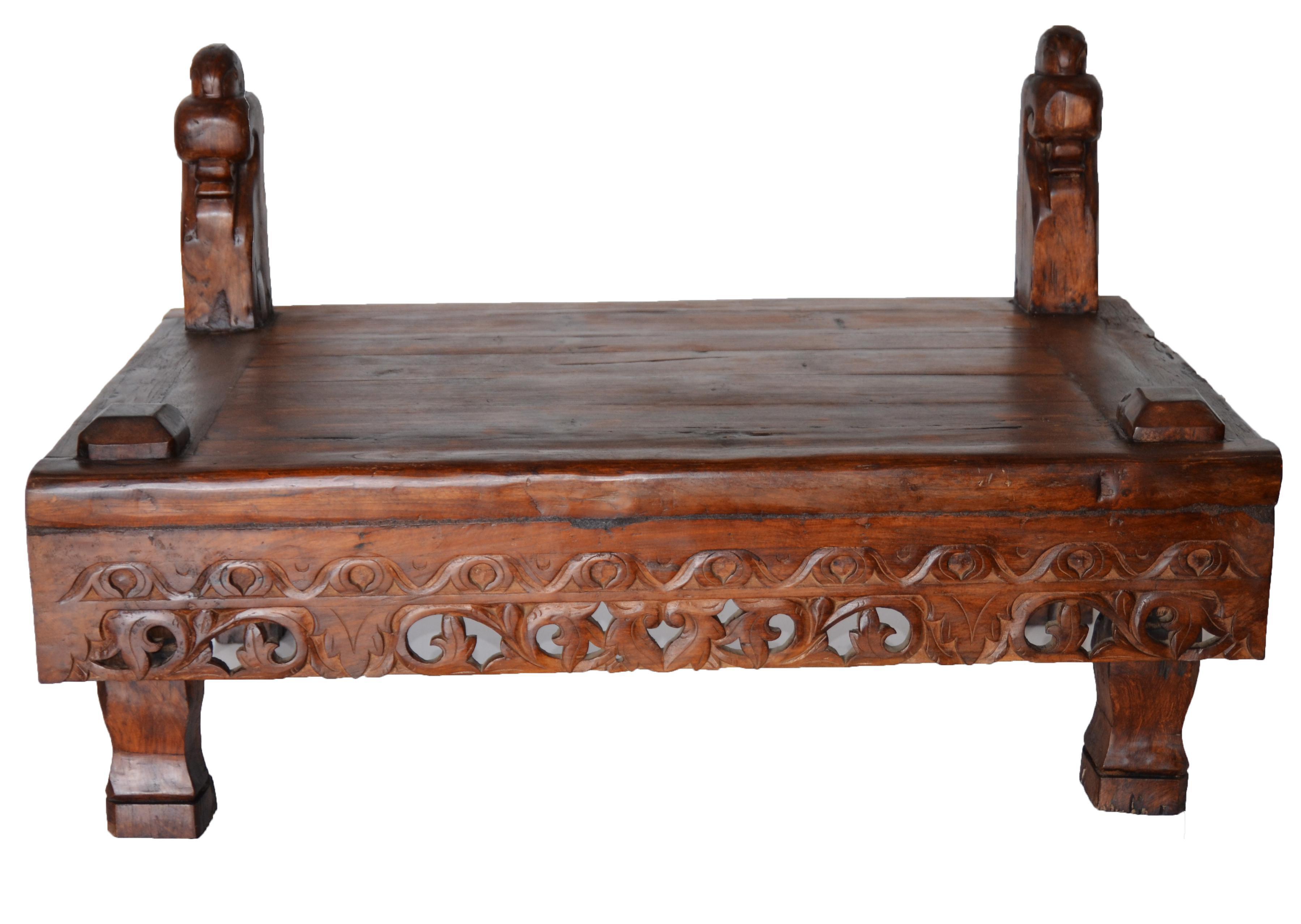 Vintage Indonesian Carved Teak Coffee Table