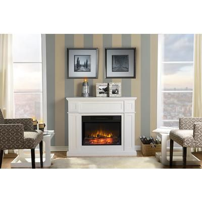Terrific Flamelux 41Inch Wide Electric Fireplace Mantel In White Download Free Architecture Designs Griteanizatbritishbridgeorg