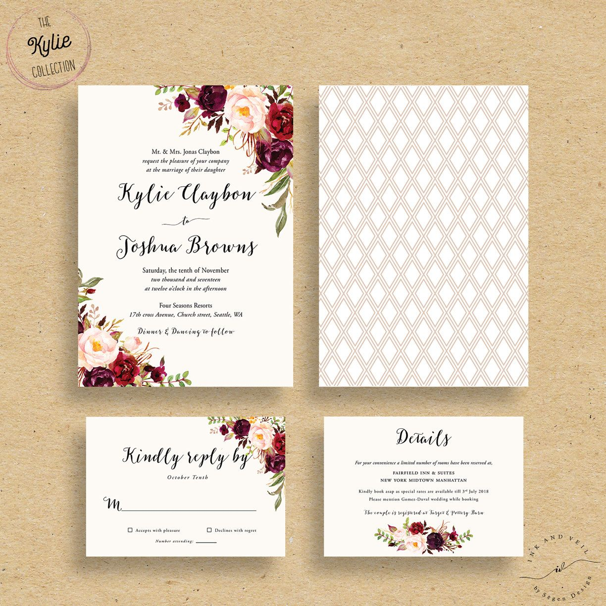 wedding invitations with pictures Marsala Wedding Invitations Fall Floral Wedding Invites Autumn Winter Wedding Invitations Bohemian Rustic