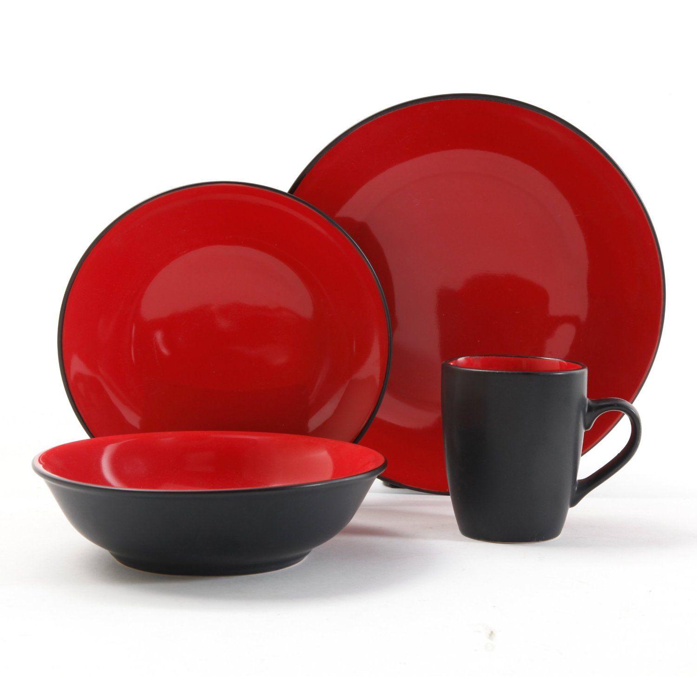 Gibson Vivendi 2 Tone Dinnerware Set 16 Piece Red Black Kitchen