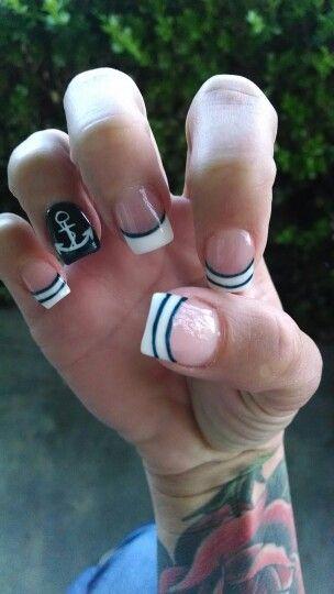 Navy. Anchor. Pin-up. Nails. #mynailladyrocks. Just say'n! JJ nail San Jose CA