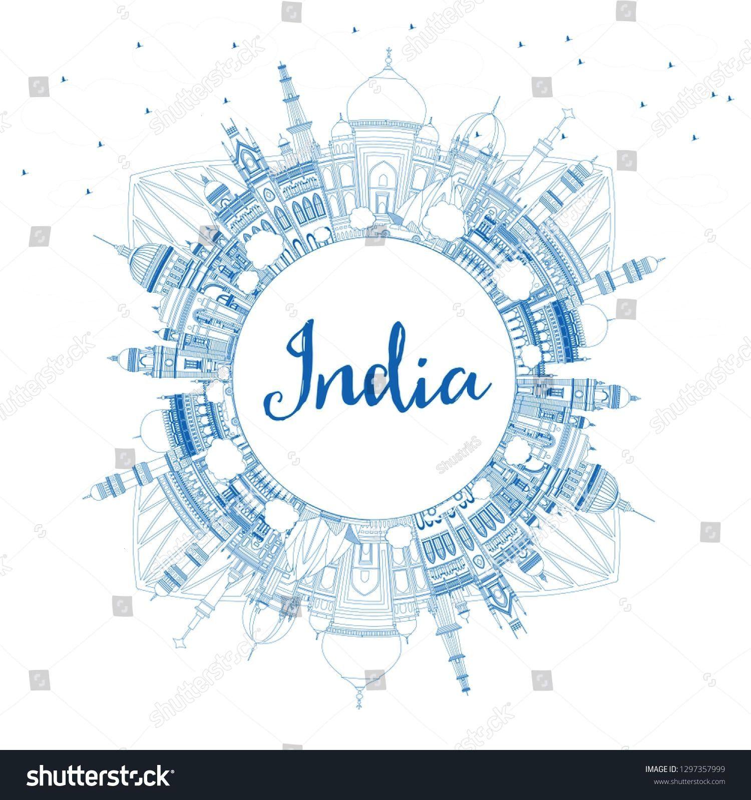 India City Skyline with Blue Buildings and Copy Space. Delhi. Hyderabad. Kolkata. Vector Illustrati
