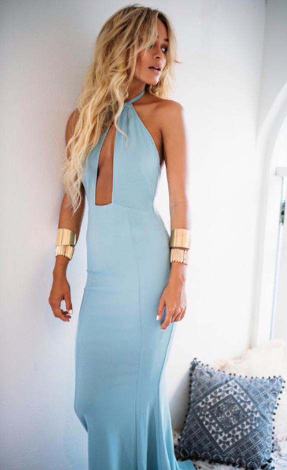 Blue Halter Prom Dressdeep V Neck Party Dressformal Evening Dress