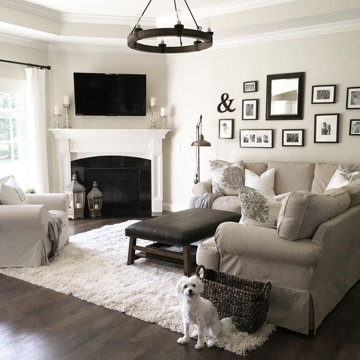 Neutral Living Room With Traditional Fireplace In 2019: Fireplace, Sectional, Black & White