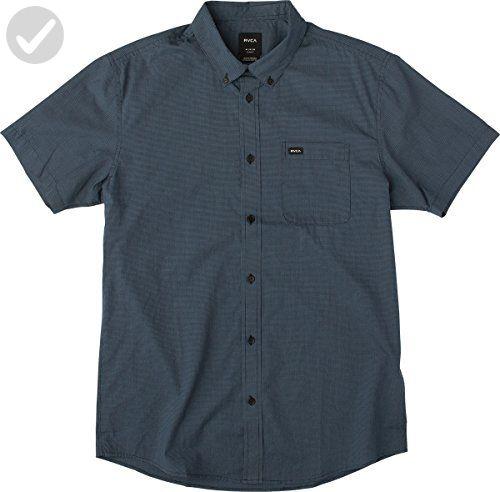 RVCA Men's That'Ll Do Micro Short Sleeve Shirt, Federal Blue, X-