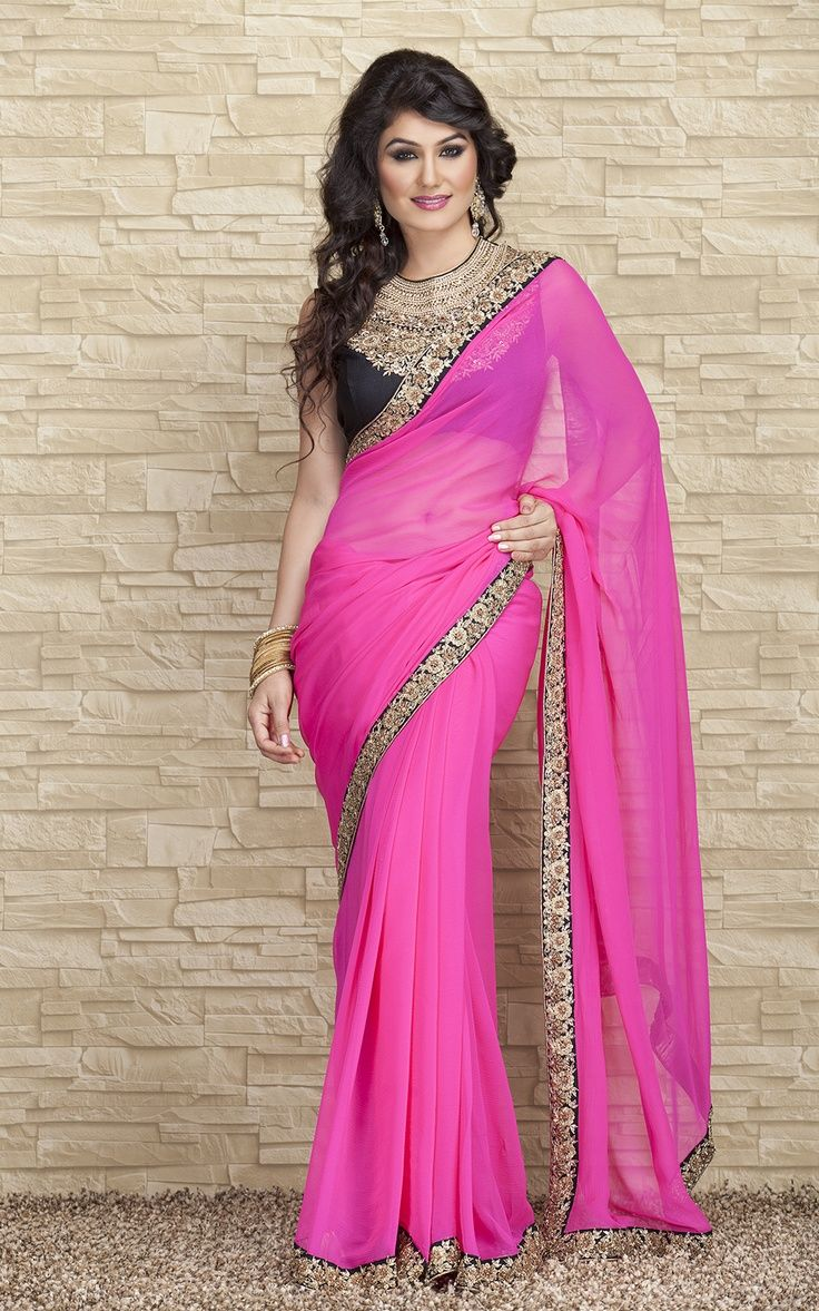 pink saree with royal bluee golden border   smarty   Pinterest ...