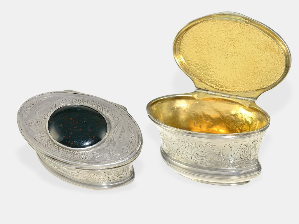 snuffbox, silver / jasper, about 1700 approximate 60 × 40 × 38 mm, silver, inside gold plated, cap and sides engraved, cap with jasper occupies, inside scratch mark, rare in this kind and condition.  Dealer Karl-Heinz Cortrie GmbH  Auction Minimum Bid: 450.00EUR