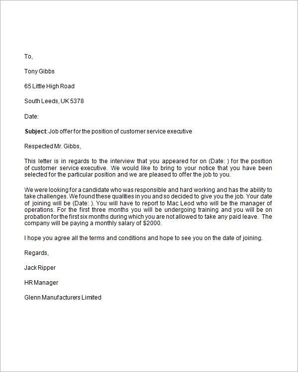 Job Offer Letter Sample Template Best Examples Format Appointment