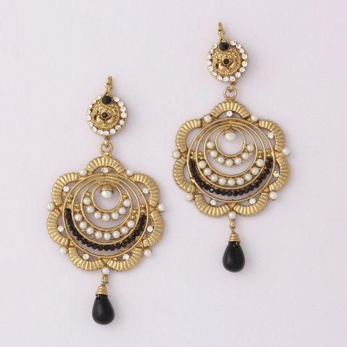 Black  Diamond Stone Earring By Variation