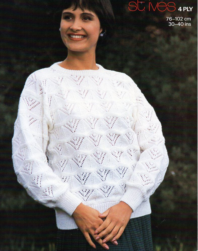 Vintage 4ply ladies lace sweater knitting pattern pdf womens lacy ...