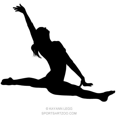 Download Female Gymnast Silhouette Executing a Split | Female ...