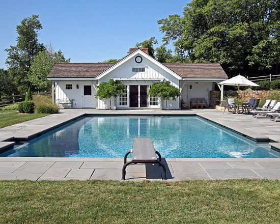 Swimming Pool In Village Country House Rectangular Shape With - House with garden and swimming pool