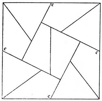 Ten Piece Square Puzzle For Guidance In Setting Out The Centre Of Four Outlines Are Lettered At C