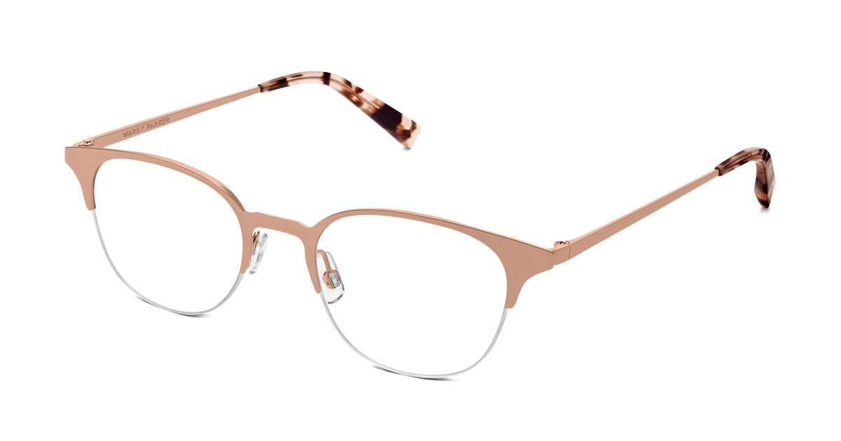 41a9158cda6 Violet Eyeglasses in Rose Gold for Women. Violet s semi-rimless metal frame  was designed for maximum elegance. Then we added adjustable nosepads (for  ...