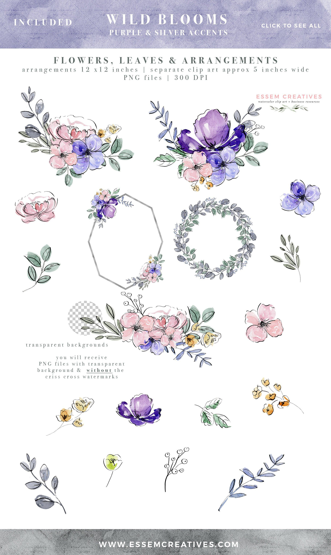 Purple Watercolor Floral Graphics Flower Clipart Purple
