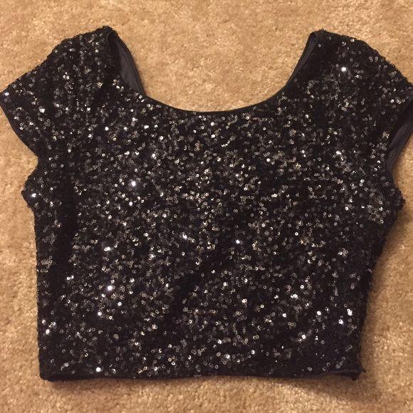 feae4266 Express sequin black crop top Super cute sequin crop top! Only worn once.  Express Tops Crop Tops