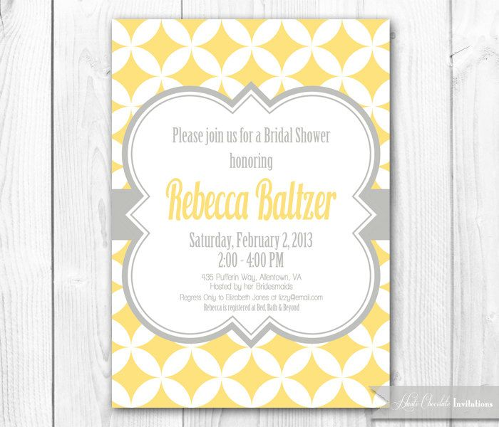 Bridal Shower Invitation - Mod Yellow & Gray. DIY Printable Bridal Shower, Baby Shower or Birthday Invite - Coordinating Package Available. $14.00, via Etsy.