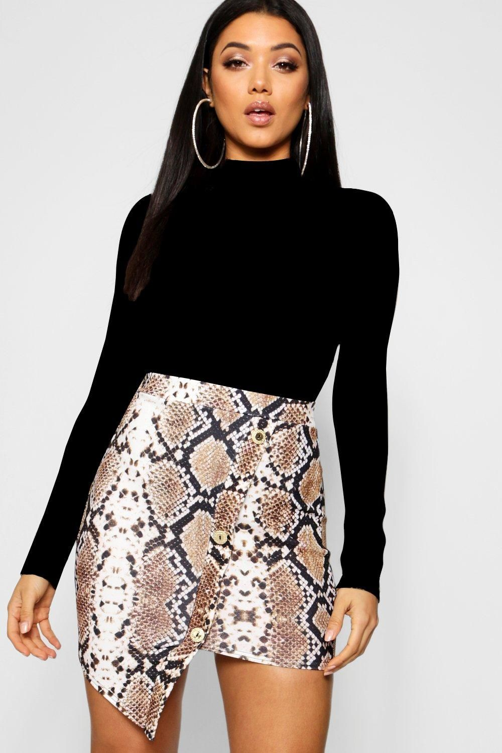 13221ed4ce9e Click here to find out about the Asymmetric Gold Button Snake Print Mini  Skirt from Boohoo, part of our latest NEW IN collection ready to shop  online today!