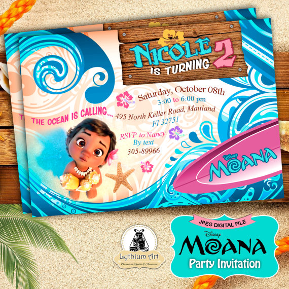 MOANA Invitation Moana Birthday Baby