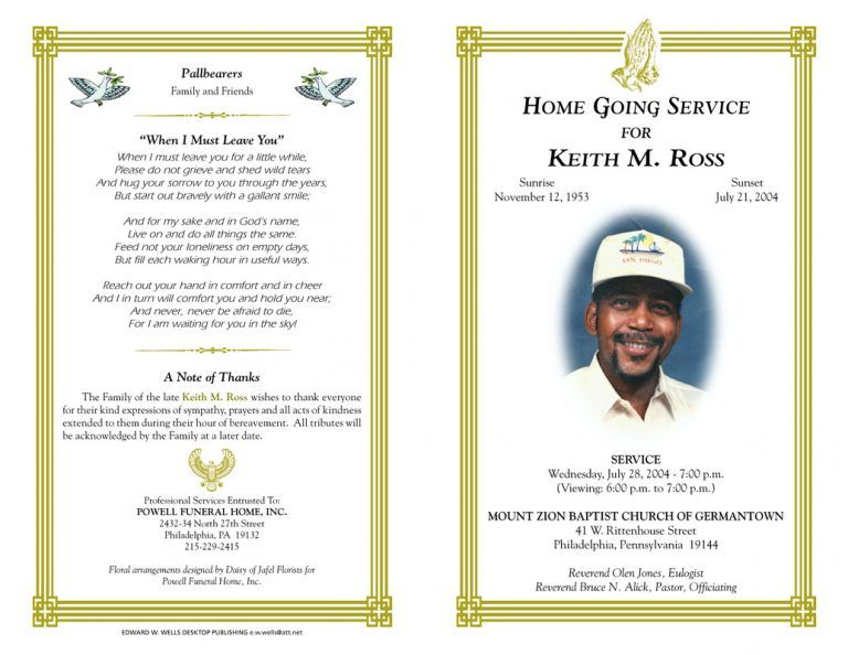 Blank Funeral Program Template Best photos of free funeral programs