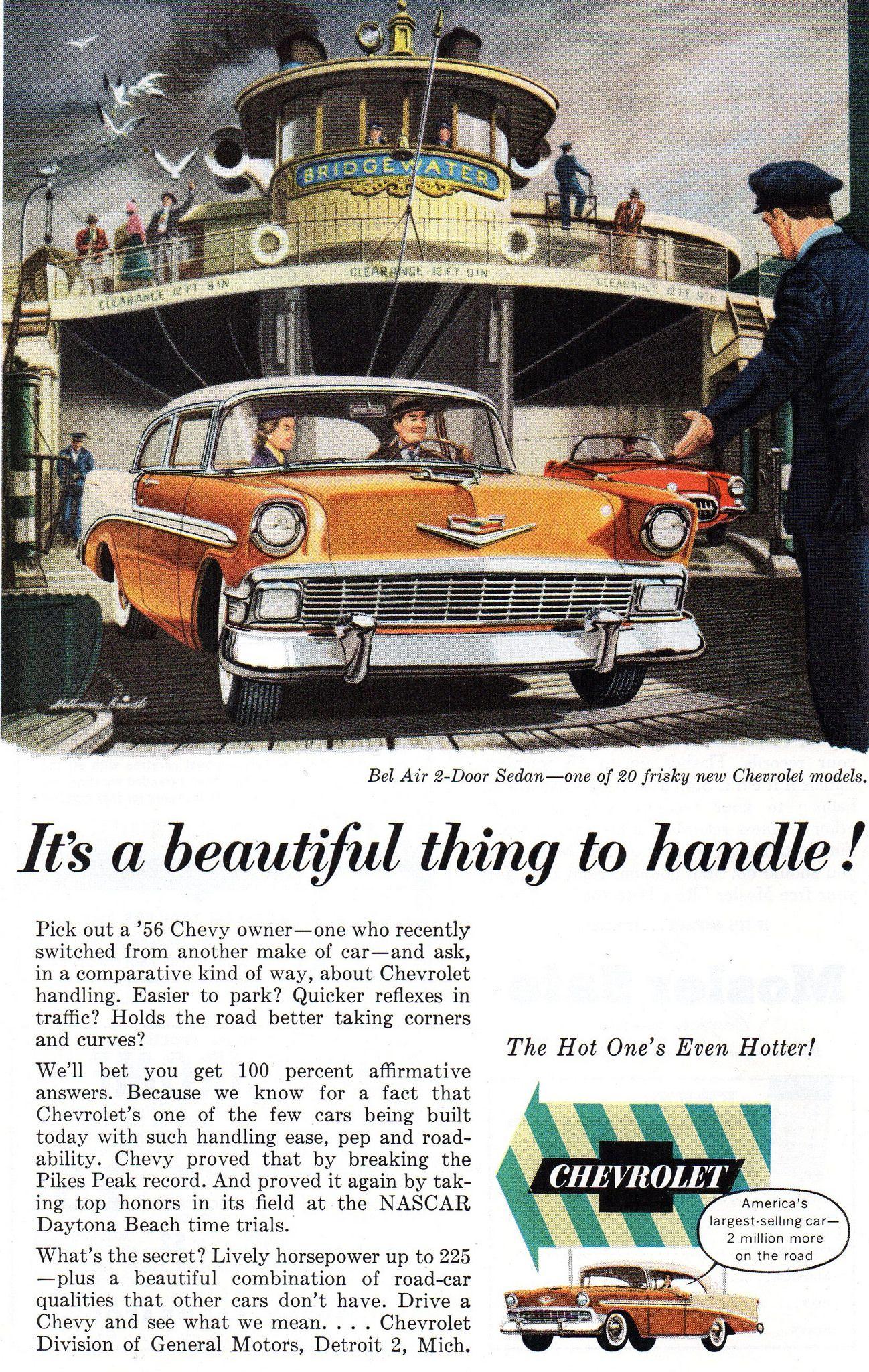 1956 Chevrolet Bel Air 2 Door Sedan Corvette Usa Original Magazine Advertsement Chevrolet Bel Air Chevrolet Classic Cars
