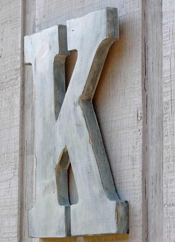 2 Feet Rustic Wooden Letter K Distressed Painted White 24 Tall Decor Cottage Wall Letter Decoration Wed Decorative Letters Wooden Letters Wooden Wall Letters