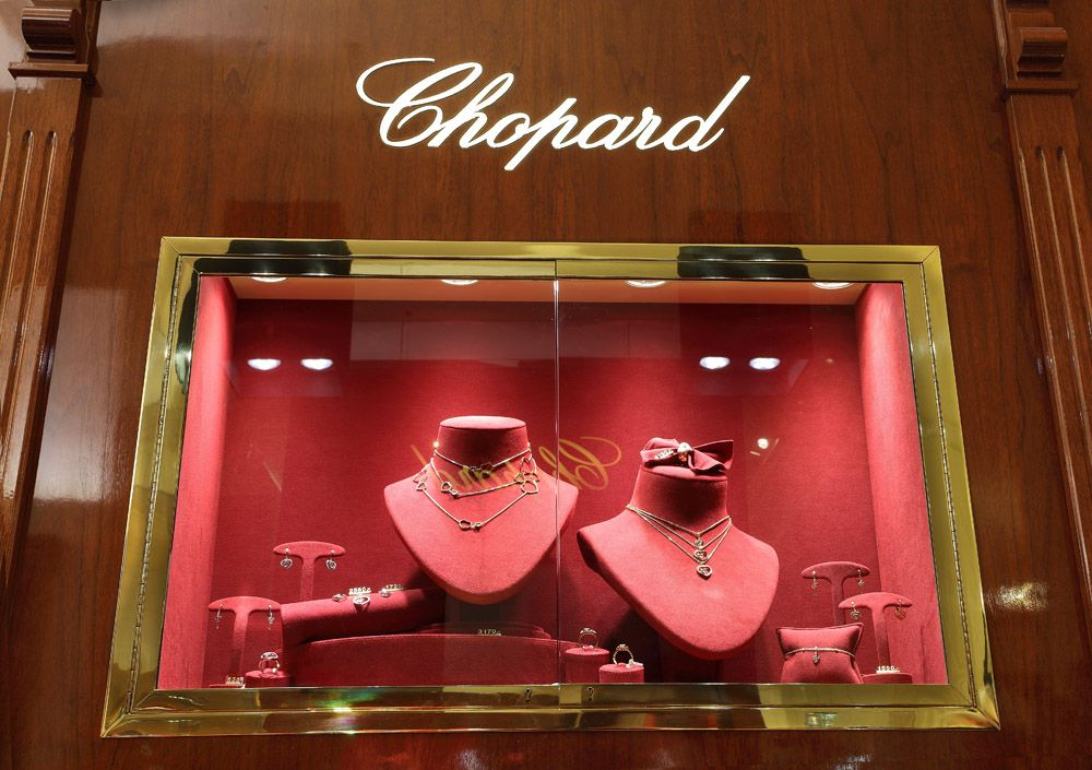 White Display Cabinet Lighting for Chopard Jewellery and ...