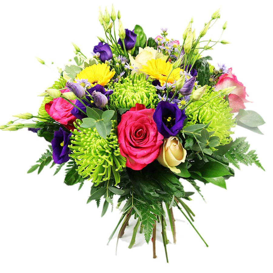 A handtied bouquet made up with vibrant