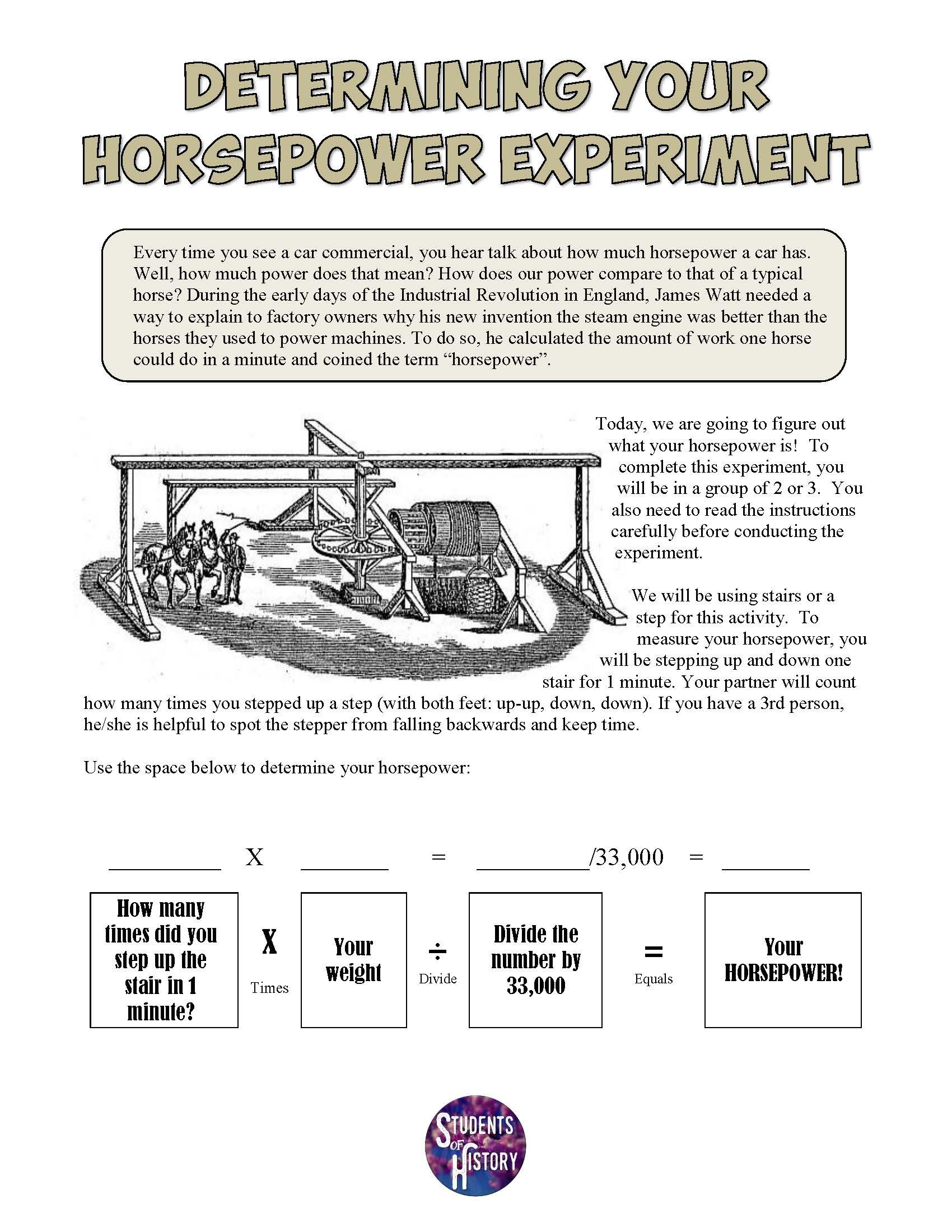 Industrial Revolution Determining Your Horsepower Project