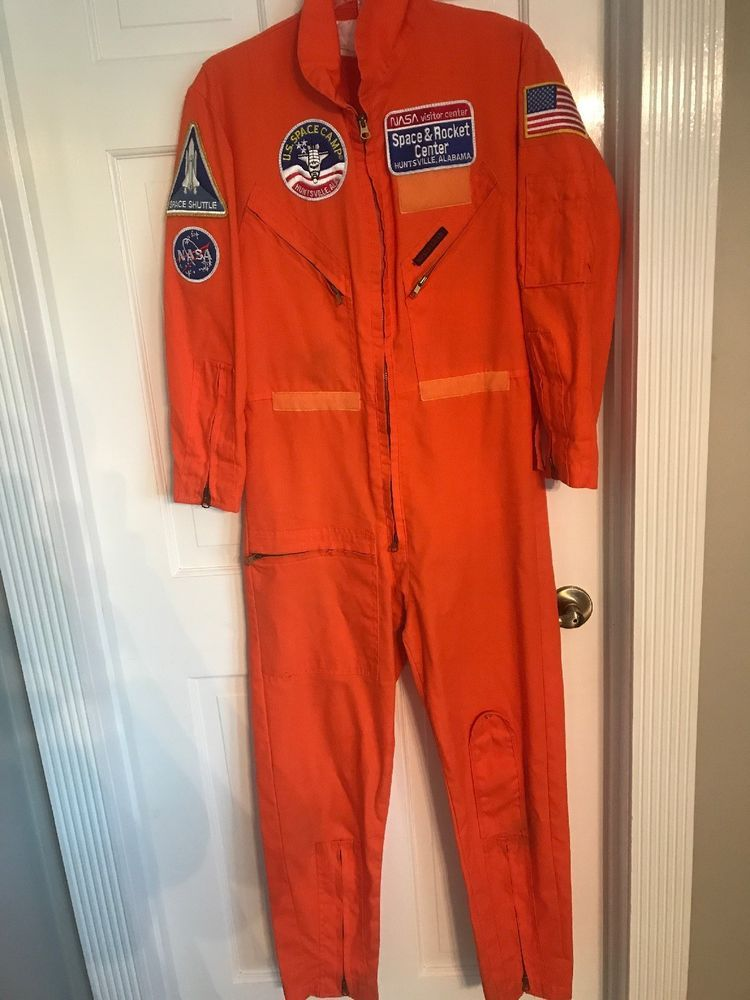 df43388166c1 Vintage Orange Space Camp Flight Suit Costume Adult XS NASA Shuttle   Fortnite