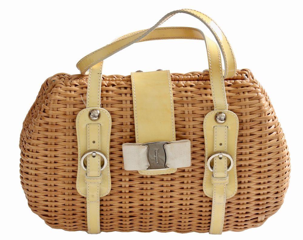 aa76487b5b Salvatore Ferragamo Wicker Bag with Yellow Patent Leather Trim   SalvatoreFerragamo  Handbag